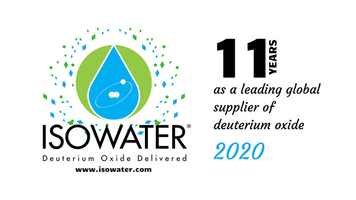 Logo commemorating eleven years of Isowater as a leading global supplier of deuterium oxide.