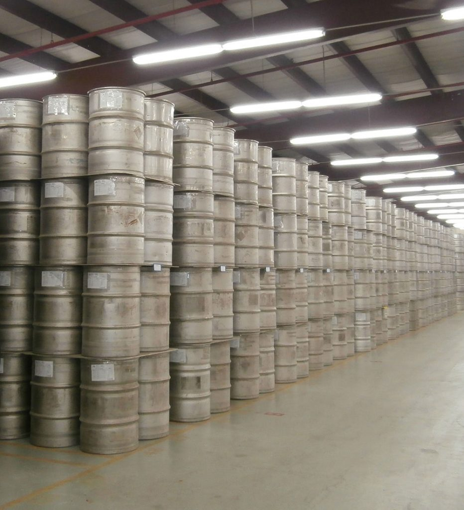 Heavy water deuterium oxide d2o drums in warehouse