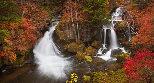 Autumn photo of a forest with two water falls which can be traced by deuterium oxide